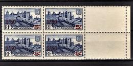 FRANCE 1941 - BLOC DE 4 TP / Y.T. N° 490  - NEUFS** - France
