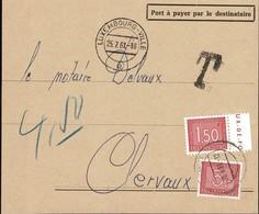1946/47 Fragment De Lettre, Cachet TAXES , Timbre-taxe 1,50F, 3F Rouge, Notaire Delvaux Clervaux, Michel 2019: 31,33 - Postage Due