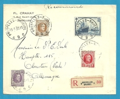 198+203+256+297 (tuberculose) Op Brief Aangetekend Stempel BRUXELLES - Belgium