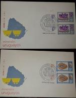 L) 1979 URUGUAY, MINERALS, AGATE, 9C, CARVED AGATE, GEM AMETHYST, 5C, GEMSTONE, SET OF 2, FDC - Uruguay