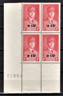FRANCE 1941 - BLOC DE 4 TP  Y.T. N° 494 - NEUFS** COIN DE FEUILLE - France
