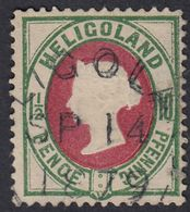 GERMANIA HELIGOLAND - Yvert 13 Usato,  10 Pf, Verde E Carminio. - Heligoland