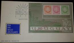 L) 1972 URUGUAY, DAY OF THE URUGUAYO SEAL, 60 PESOS,ORANGE, PINK, SHIELD, BICENTENARY FIRST BRAND POSTCARD,80 PESOS, GRE - Uruguay