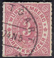 WURTTENBERG -  1869 - Yvert 38, Usato, 3 K., Rosa. - Wurtemberg