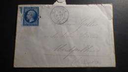 FRANCE   LETTRE ENVELOPPE  ST AFFRIQUE PPOUR MONTPELLIER  31 AOUT 1862 - 1862 Napoléon III