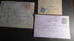 FRANCE   LOT 3 LETTRES ENTIER CARTE  TYPE SAGE   COLLINGES   LYON  ST REMY S DUROLE - 1876-1898 Sage (Type II)