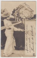C1900s WOMAN PLAYING TENNIS PHOTOMONTAGE PC CPA - Tennis