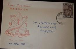 L) 1957 MALAYA PAHANG, TIGER, 10C, SULTAN ABU BAKAR, CIRCULATED COVER FROM PAHANG TO SINGAPORE, FDC - Malaysia (1964-...)