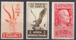 AFRICA ORIENTALE ITALIANA - 1938 - Lotto Di 3 Valori Nuovi MNH: Yvert 1, 2 E 6. - Africa Orientale Italiana
