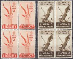 AFRICA ORIENTALE ITALIANA - 1938 - Due Quartine Nuove MNH: Yvert 1 E 2. - Africa Oriental Italiana