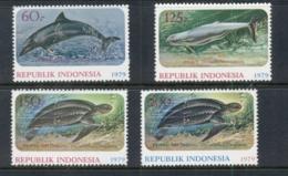Indonesia 1979 Marine Life,Wildlife Protection, Dolphin, Turtle MUH - Indonesia