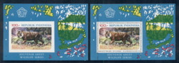 Indonesia 1977 Wildlife Protection 2x MS Perf & IMPERF MUH - Indonesia