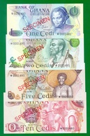 Ghana 1, 2, 5, 10 Cedis 1977 CS-1 SPECIMEN UNC - Ghana