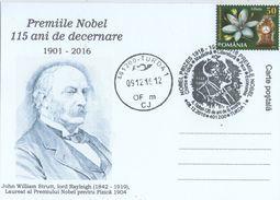 The Nobel  Prize 115 Years - John Williams Rayleigh Nobel Prize In Physicd 1904 . Turda 2016 - Premio Nobel