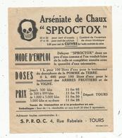 Publicité, Arséniate De Chaux SPROCTOX , S.P.R.O.C. , Tours ,37 ,tête De Mort ,frais Fr 1.45 E - Publicités