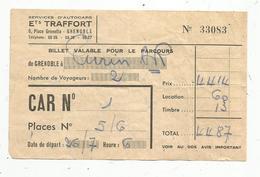 Ticket ,billet Grenoble à Turin ,aller-retour ,2 Voyageurs, Services D'autocars Ets Traffort , SNCF,  2 Scans - Bus