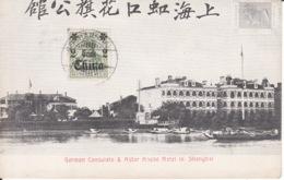 Shanghai, German Consulate, Astor House Hotel,  Printed Hong Kong Stamp+ German Stamp ,  2 Scans - Chine