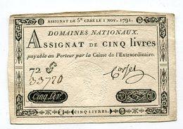 Assignat De 5 Livres      1791   VOIR DESCRIPTIF §§ - Assignats