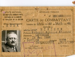 Militaria - Lot De 5 Documents - Carte Combattant - Brevet Militaire - Rivière - Lagrasse (Aude) - Documenti