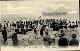 Cp Casablanca Marokko, Raz De Maree, Le Canot De Sauvetage Portant L'amarre - Autres