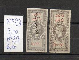 DT257X FRANCE 2 TIMBRES OBL FISCAL FISCAUX REVENUE REVENUES EFFETS COMMERCE N°27/29 NAPOLEON III - Revenue Stamps