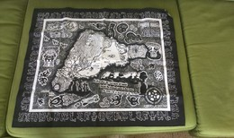 EASTER PASQUA ISLAND GEOGRAFICAL MAP ON SMALL CARPET 60X 50 CM,RONGO RONGO LETTERS Rare - Prints & Engravings
