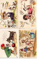 Germaine Bouret : 4 Cartes Avec Découpis - Bouret, Germaine