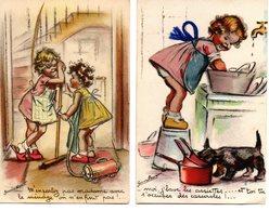 Germaine Bouret : 2 Cartes Avec Découpis - Bouret, Germaine