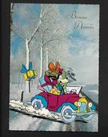 Dingo Au Volant D'un Tacot - Voiture Car Auto - Disney Jolie Carte Postale CPSM Bonne Année - Disney