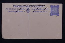 INDE - Entier Postal Du Travancore - Cochin Annulé Non Circulé - L 21447 - Cartas