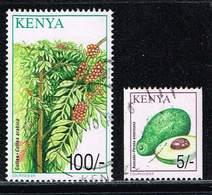 Kenia 2001, Michel# 747 C + 759 O Avocado - Persea Americana/ Tea (Camellia Sinensis) - Kenia (1963-...)