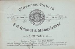 CPA - Tabac / Tabak - Cigarren-Fabrik - J.G. Quandt & Mangelsdorf - Leipzig - 1893 - Advertising