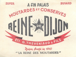 Buvard Ancien MOUTARDES ET CONSERVES REINE DE DIJON - ETABLISSEMENTS G.THEVENIAUD ET FILS - Moutardes