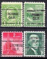 USA Precancel Vorausentwertung Preo, Locals California, Livermore 704, 4 Diff., Perf. 11x10 1/2 - Vereinigte Staaten
