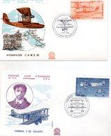 Lot De 4 Enveloppes 1ER JOUR   Theme Aviation WIBAULT  .DEWOITINE 338.   HYDRAVION  FARMAN F 60 ANNEE 1985.86.84.87 - Avions