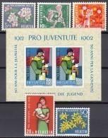 SCHWEIZ  758-762 + Block 18, Postfrisch **, Pro Juventute 1962 - Pro Juventute