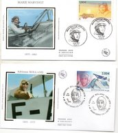 Lot De 4 Enveloppes 1ER JOUR   Theme Aviation  AVIATEURS ROLAND GAROS ..- SAINT EXUPERY- BOLLAND-  Marvingt - Avions