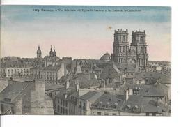 35 RENNES N° 1204 : Vue Générale - Eglise St Sauveur & Tours De La Cathédrale / CPA Rouselière Couleurs / Une Tache ! - Rennes