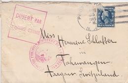 Etats Unis Lettre Censurée Pour La Suisse 1915 - Postal History