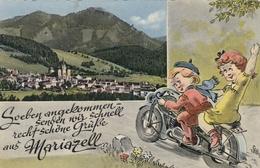 Motorcycle Motorbike Postcard Mariazell Austria - Motos