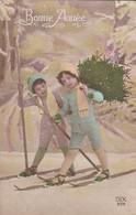 BONNE ANNEE--( Enfants Faisant Du Ski )--voir 2 Scans - Nouvel An