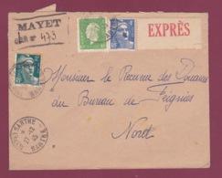230119 - Lettre RECOMMANDEE PROVISOIRE EXPRES MAYET Sur SARTHE  1945 Marianne De DULAC - Marcophilie (Lettres)