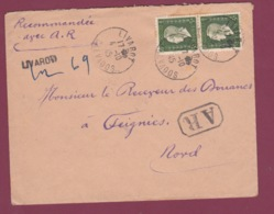 230119 - Lettre RECOMMANDEE PROVISOIRE AR LIVAROT Calvados1945 Marianne De DULAC - Marcofilia (sobres)