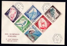 MONACO - Lettre 1er Jour (FDC) - Série 1953 Complète JEUX OLYMPIQUES HELSINKI (Yvert 386/391) - FDC