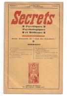 Secrets Psychiques Psychologiques Et Médicaux N°1. Janvier 1934 - Books, Magazines, Comics