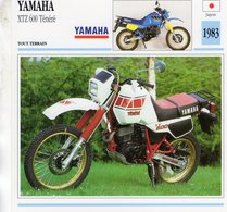 Yamaha XTZ 600 Tenere  -  Rallye Paris-Dakar  - 1983  -  Fiche Technique/Carte De Collection - Motorcycle Sport