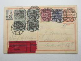 1922 , 75 Pfg. Germania Vom Oberrand Auf Eilkarte Aus Mannheim - Deutschland