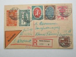 1920 , Ganzsache Als Einscreiben NN- Karte Aus Berlin Nach Dänemark - Lettres & Documents