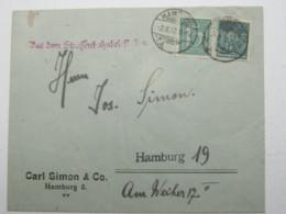 1922 , Hamburg ,  Strassenbahnbriefkasten , Seltener Stempel Auf Brief , Sonderporto ! - Deutschland