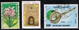 Tunesien 1994/96/2013, Michel# 1288, 1353, 1804 OFlower/ Musical Instruments/ Architecture Of The City Of Tozeur - Tunisie (1956-...)